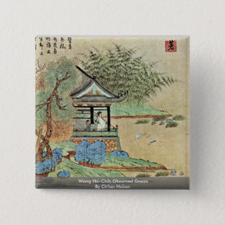 Wang Hsi-Chih Observed Geese By Ch'Ien Hsüan 2 Inch Square Button