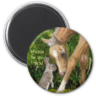 Wanna be my friend? Bunny & Foal round magnet