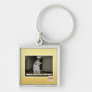 Wanna come see mah fort? Silver-Colored square keychain