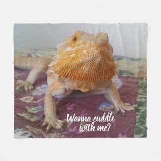 Wanna cuddle with me Adorable Bearded Dragon Photo Fleece Blanket