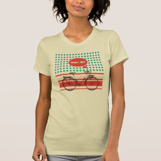 Wanna Ride? Trendy Retro Bicycle red/teal Shirts