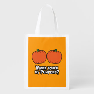 WANNA TOUCH MY PUMPKINS - Halloween - png Grocery Bags