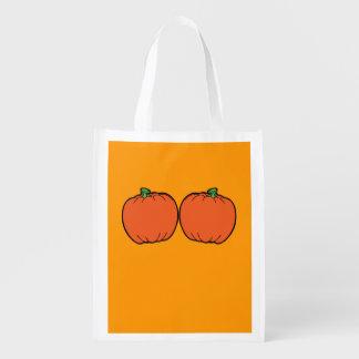WANNA TOUCH MY PUMPKINS - - Halloween - png Reusable Grocery Bags