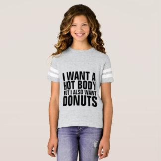 WANT HOT BODY WANT DONUTS Kids Teen girls T-shirts