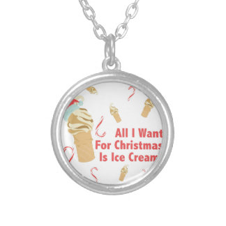 Want Ice Cream Silver Plated Necklace