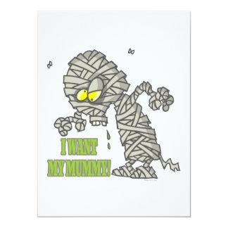 want my mummy silly halloween cartoon 6.5x8.75 paper invitation card