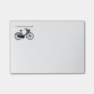 """Want to ride my bicycle"" Motivational Quote Post-it Notes"