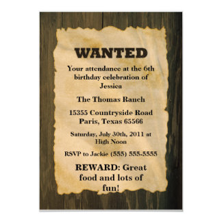 WANTED Birthday Party Card