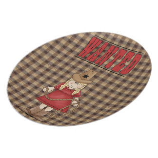 Wanted Cowgirl Kids Plate