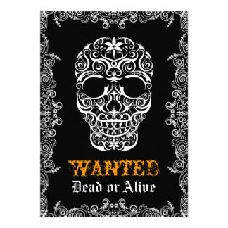 Wanted Dead or Alive Halloween Skull Invitation