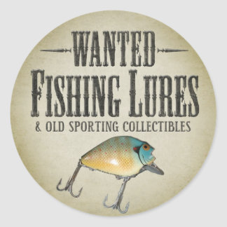 WANTED: Fishing Lures Round Sticker