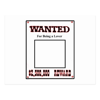 Wanted For Being A Lover Red The MUSEUM Zazzle Gif Postcard