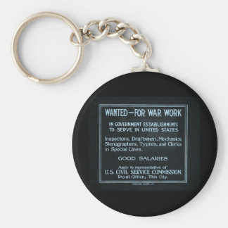 Wanted for War Work Vintage World War I Basic Round Button Keychain