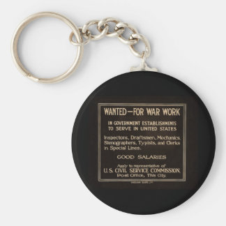 Wanted for War Work Vintage World War I Key Chain