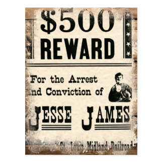 Wanted Jesse James Postcard