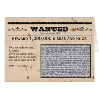 Wanted newspaper and frame card