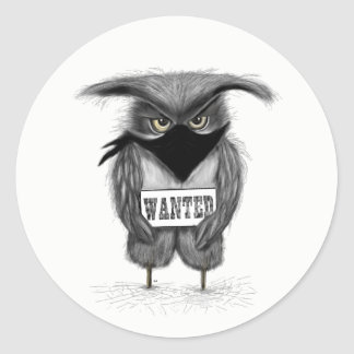 wanted owl classic round sticker