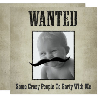 Wanted Poster Invitation - Move the mustache