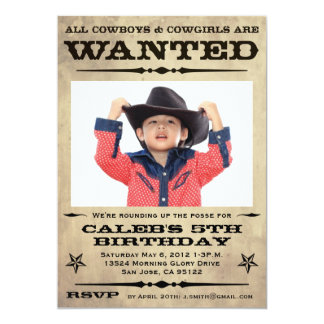 """Wanted Poster Kids Party 5"""" X 7"""" Invitation Card"""