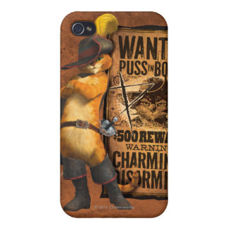 Wanted Puss in Boots (char) Cases For iPhone 4