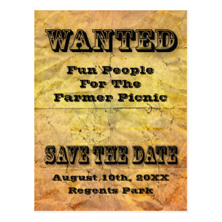 wanted save the date aged paper postcard
