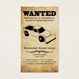 wanted : snow plow and lawn care services business card