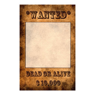 'Wanted' stationery