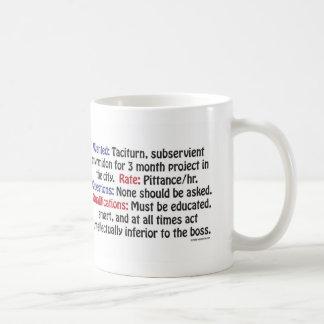 Wanted: Taciturn, subservient myrmidon Coffee Mug