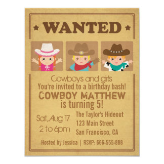 """Wanted Vintage Poster Cowboys and girls Party 4.25"""" X 5.5"""" Invitation Card"""
