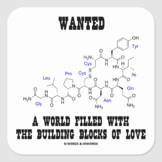 Wanted World Filled Building Blocks Love Oxytocin Square Sticker