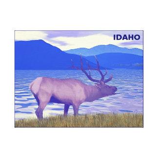 Wapiti (Elk) By The Lake Canvas Print
