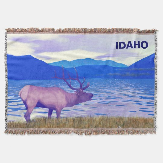 Wapiti (Elk) By The Lake Throw Blanket