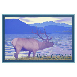 Wapiti (Elk) By The Lake  - Welcome Doormat