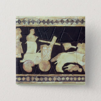 War chariot pulled by two horses, 2800-2300 BC 2 Inch Square Button