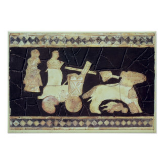 War chariot pulled by two horses, 2800-2300 BC Poster