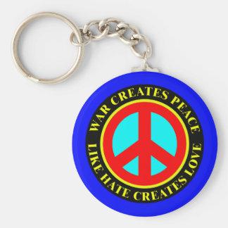 WAR CREATES PEACE, LIKE HATE CREATES LOVE BASIC ROUND BUTTON KEYCHAIN