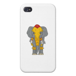 War Elephant Drawing Cover For iPhone 4