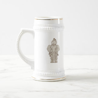 War Elephant Mahout Rider Drawing Beer Stein