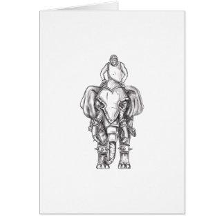 War Elephant Mahout Rider Tattoo Card