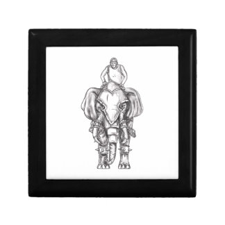 War Elephant Mahout Rider Tattoo Jewelry Box