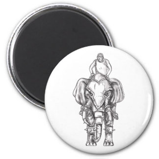 War Elephant Mahout Rider Tattoo Magnet