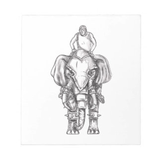 War Elephant Mahout Rider Tattoo Notepad