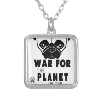 war for planet of pugs cool dog silver plated necklace