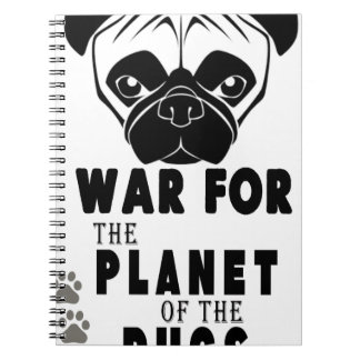 war for planet of pugs cool dog spiral notebook