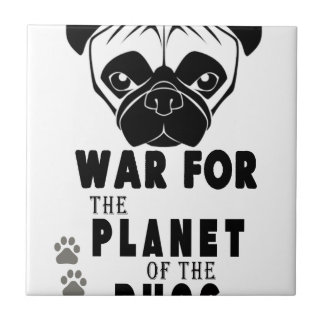 war for planet of pugs cool dog tile
