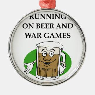 war game Silver-Colored round ornament
