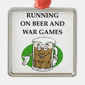 war game Silver-Colored square ornament