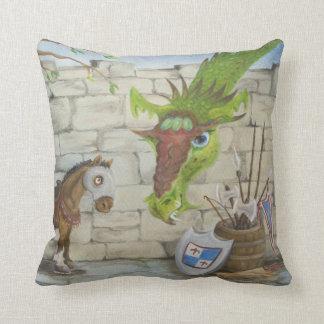 War Horse and Dragon Throw Pillow