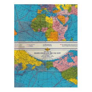 War map Atlantic, Eurasia, Africa, Pacific Ocean Postcard