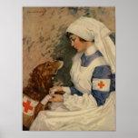War Nurse with Golden Retriever 1917 Posters